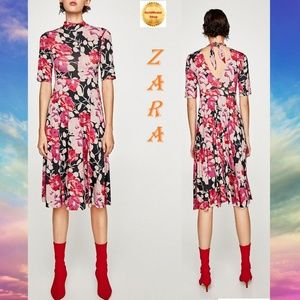 ZARA Floral Print New Flowing Pink Dress